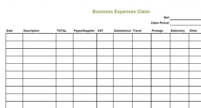 Business Expenses Claim © L Rowe 2017
