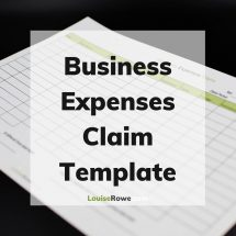 Business Expenses Claim Template (title). Photo credit © L Rowe 2020