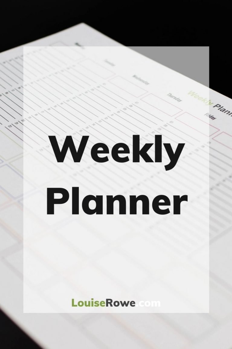 Weekly Planner (pin). Photo credit © L Rowe 2020