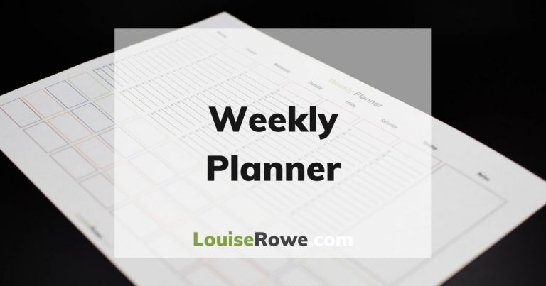 Weekly Planner (wide). Photo credit © L Rowe 2020
