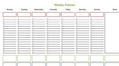 Weekly Planner © L Rowe 2017